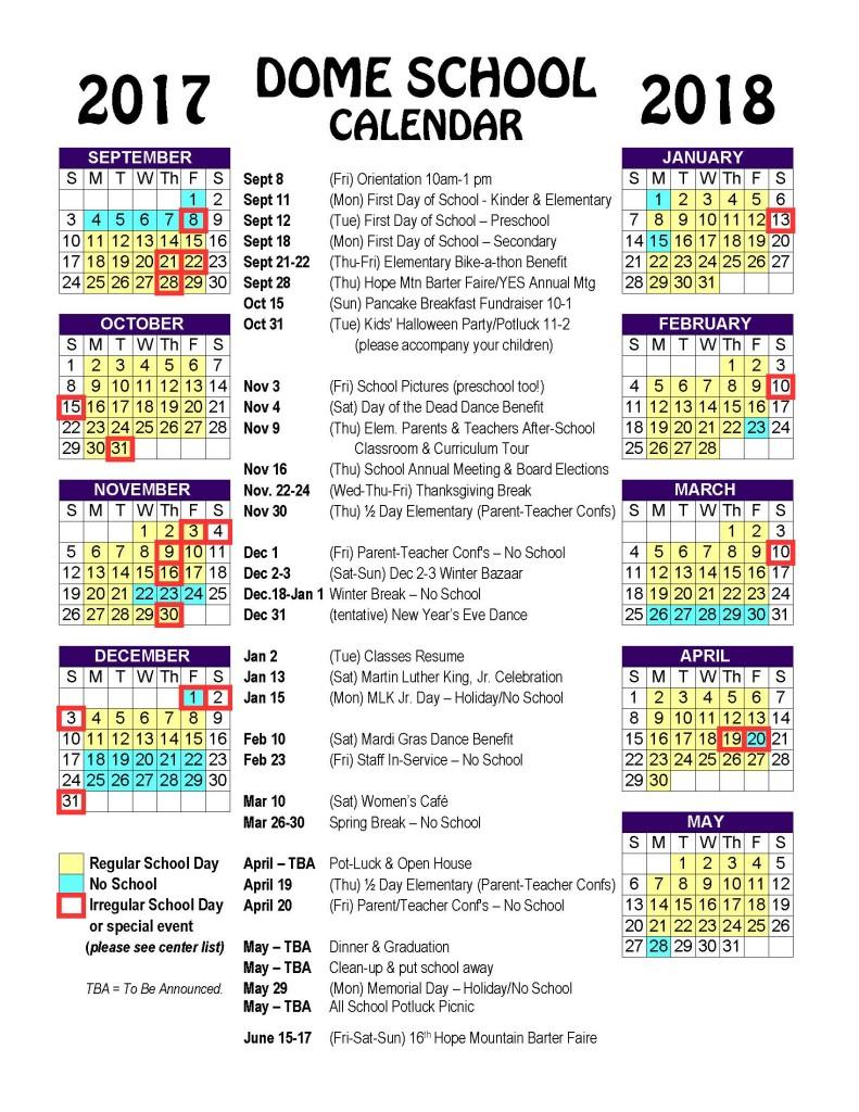 Dome School Calendar 17-18